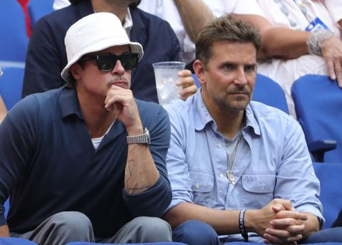 actors brad pitt l and bradley cooper watch  the match between serbia's novak djokovic and russia's daniil medvedev during their 2021 us open tennis tournament men's final at the usta billie jean king national tennis center in new york, on september 12, 2021 photo by kena betancur  afp photo by kena betancurafp via getty images