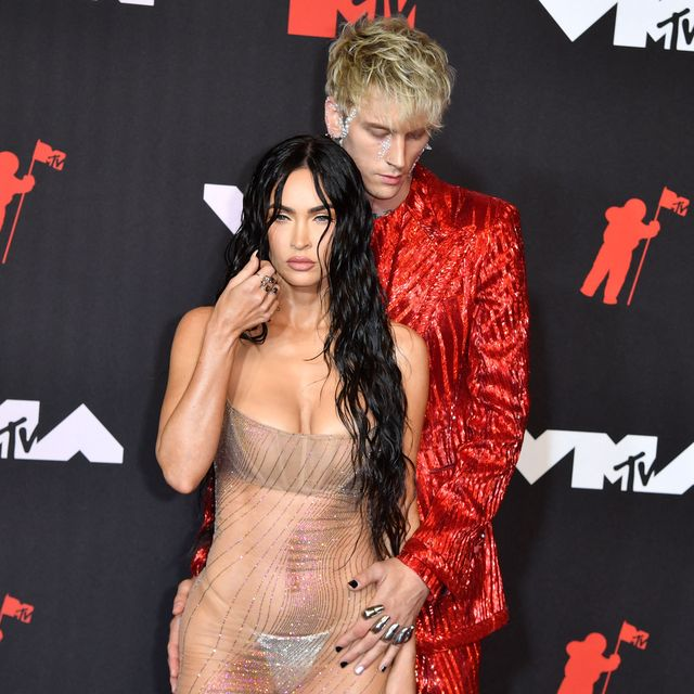 us actress megan fox l and us singer machine gun kelly arrive for the 2021 mtv video music awards at barclays center in brooklyn, new york, september 12, 2021 photo by angela  weiss  afp photo by angela  weissafp via getty images