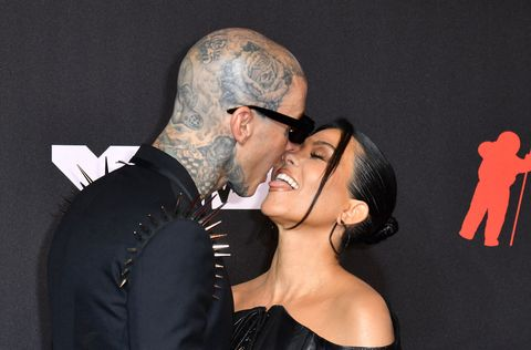 us drummer travis barker and us personality kourtney kardashian arrive for the 2021 mtv video music awards at barclays center in brooklyn, new york, september 12, 2021 photo by angela  weiss  afp photo by angela  weissafp via getty images