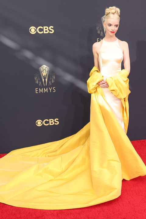 los angeles, ca   september 19    anya taylor joy arrives on the red carpet for the 73rd annual emmy awards taking place at la live on sunday, sept 19, 2021 in los angeles, ca jay l clendenin  los angeles times via getty images