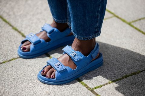 berlin, germany   may 30 lois opoku is seen wearing levis denim jeans, blue chanel sandals on may 30, 2020 in berlin, germany photo by christian vieriggetty images