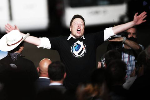 cape canaveral, florida   may 30 spacex founder elon musk celebrates after the successful launch of the spacex falcon 9 rocket with the manned crew dragon spacecraft at the kennedy space center on may 30, 2020 in cape canaveral, florida earlier in the day nasa astronauts bob behnken and doug hurley lifted off an inaugural flight and will be the first people since the end of the space shuttle program in 2011 to be launched into space from the united states photo by joe raedlegetty images