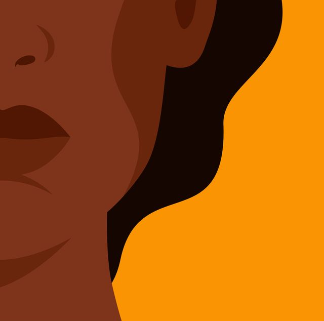 the face of a young strong african woman on yellow background concept of fighting for equality and female empowerment movement vector horizontal banner