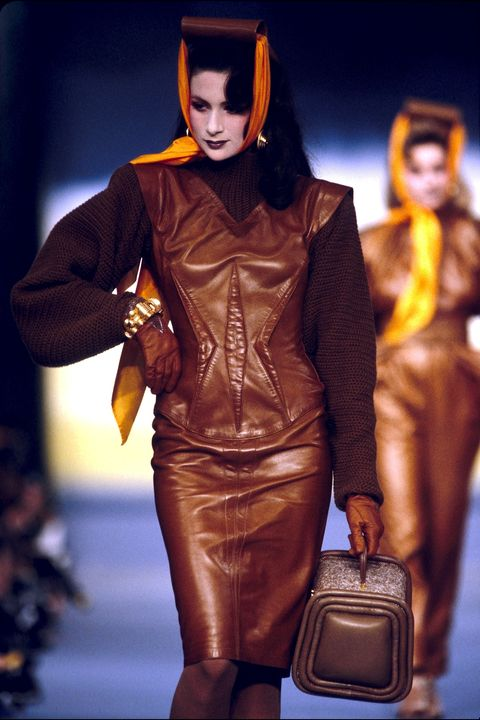 Brown, Textile, Style, Leather, Fashion model, Fashion, Latex, Fashion show, Bag, Liver,