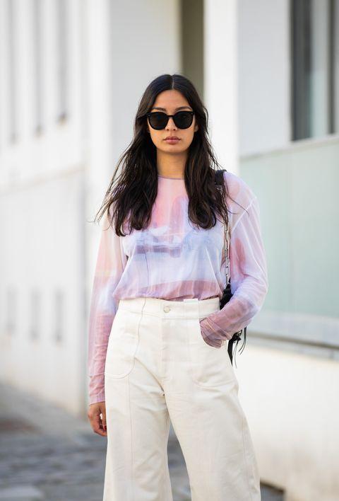 White, Clothing, Eyewear, Street fashion, Pink, Fashion, Shoulder, Sunglasses, Jeans, Waist,