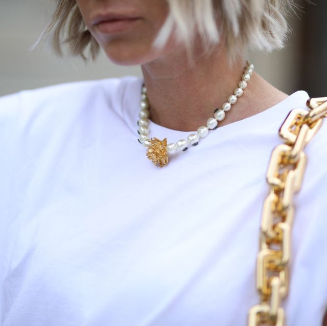 augsburg, germany   may 31 karin teigl wearing bottega veneta bag, dior chain and monki shirt on may 31, 2020 in augsburg, germany photo by jeremy moellergetty images