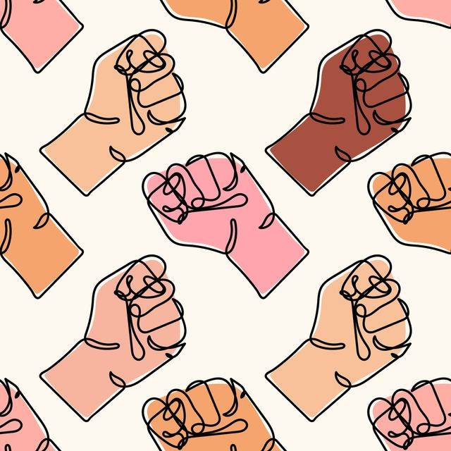 vector seamless pattern with different colored human hands continuous line drawing of strong fist arm with clenched fingers protest concept of fight for human rights stop racism