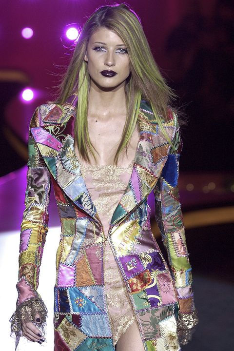 paris, france   july 08 michelle alves walks the runway during the atelier versace haute couture fallwinter 2002 2003 fashion show as part of the paris haute couture fashion week on july 8, 2002 in paris, france photo by victor virgilegamma rapho via getty images
