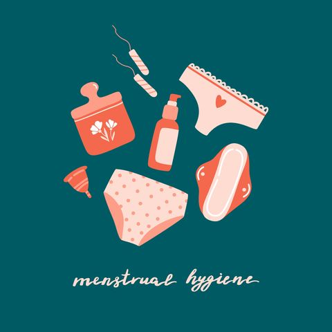 set of cute hand drawn menstrual hygiene products   tampons, sanitary pad, bottle, jar, menstrual cup, panties lettering isolated on colorful background flat cartoon vector illustration