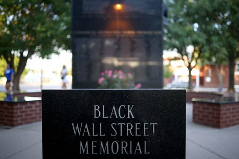 tulsa, oklahoma   june 18 the black wall street massacre memorial is shown june 18, 2020 in tulsa, oklahoma the black wall street massacre happened in 1921 and was one of the worst race riots in the history of the united states where more than 35 square blocks of a predominantly black neighborhood were destroyed in two days of rioting leaving between 150 300 people dead photo by win mcnameegetty images