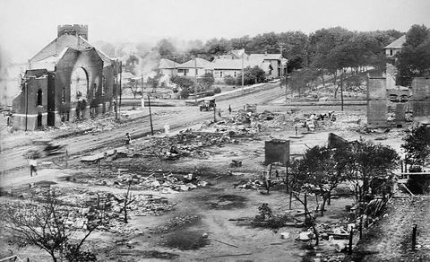 part of greenwood district burned in race riots, tulsa, oklahoma, usa, june 1921 photo by universal history archiveuniversal images group via getty images