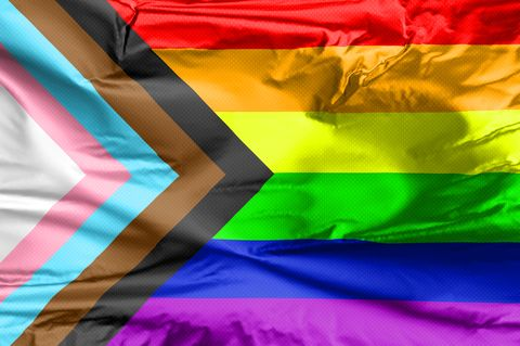 lgbt rainbow flag with inclusion and progression colors symbol of lesbian, gay, bisexual  transgender community black and brown stripes to represent marginalised lgbt also with the colours pink, light blue and white, which are sign of the transgender pride flag