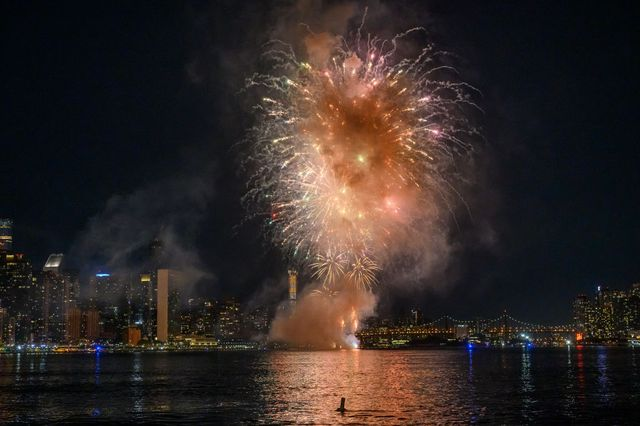 new york, new york   june 29 fireworks explode over the skyline of manhattan and the ed koch queensboro bridge during macys fourth of july fireworks spectacular on june 29, 2020 in new york city macys will have five days of fireworks in all boroughs of new york city leading up to the finale on the fourth of july on saturday photo by noam galaigetty images