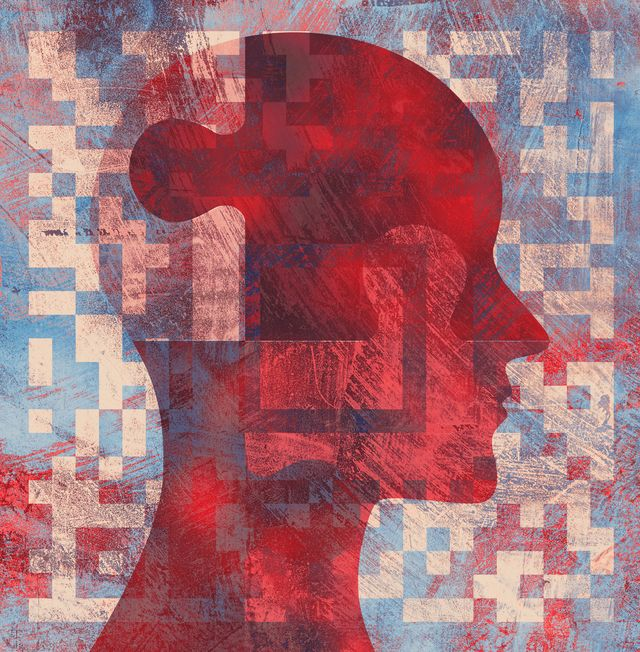 abstract profile illustration of persons head and puzzle