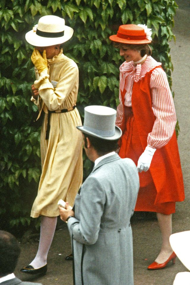 ascot, united kingdom   june 03 diana, princess of wales c, wearing a red outfit designed by bellville sassoon, a red hat with a white flower designed by john boyd, red heels and white gloves, attends royal ascot for the first time on june 03, 1981 in ascot, england photo by anwar husseingetty images