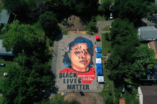 annapolis, maryland   july 05 in an aerial view from a drone, a large scale ground mural depicting breonna taylor with the text black lives matter is seen being painted at chambers park on july 5, 2020 in annapolis, maryland the mural was organized by future history now in partnership with banneker douglass museum and the maryland commission on african american history and culture the painting honors breonna taylor, who was shot and killed by members of the louisville metro police department in march 2020 photo by patrick smithgetty images