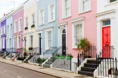 Colorful townhouses in London, UK