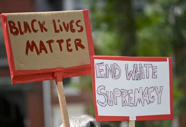 reading, pa   july 8 a detail photo of two signs black lives matter and end white supremacy during the march against white supremacy going from reading city park to the christopher columbus statue in the park, to reading city hall, and then to the berks county services center wednesday afternoon july 8, 2020 the event was sponsored by sunrise movement berks, make the road pennsylvania, berks stands up, and decolonize reading photo by ben hastymedianews groupreading eagle via getty images