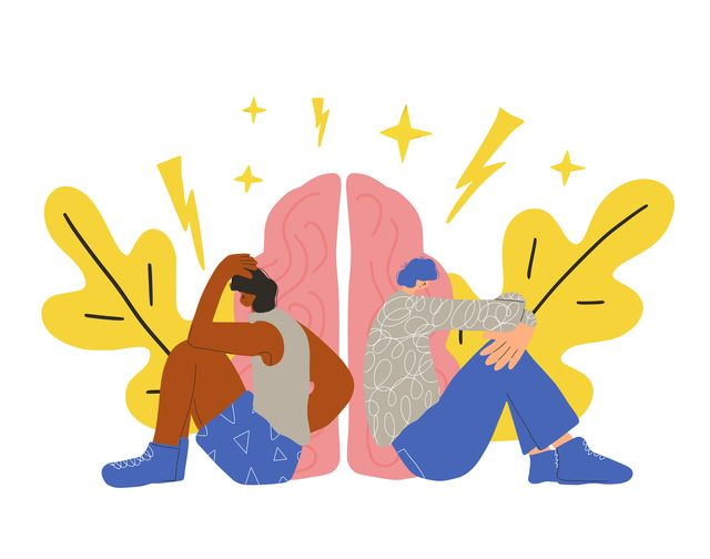 two young persons after quarrel sitting back to back on the floor communication problems two friends with bad mood and confusing thoughts bad relationship concept vector flat cartoon illustration