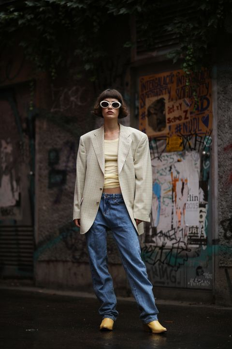 berlin, germany   july 15 lea neumann wearing american vintage top, gucci shades, stieglitz pants, cowboy boots and burberry blazer on july 15, 2020 in berlin, germany photo by jeremy moellergetty images