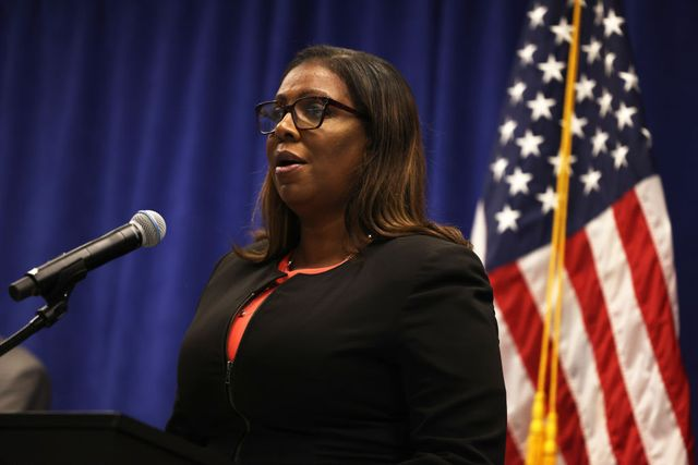 new york, new york   august 06 august 06 new york state attorney general letitia james speaks during a press conference announcing a lawsuit to dissolve the nra on august 06, 2020 in new york city new york state attorney general letitia filed a lawsuit seeking to dissolve the national rifle association charging the organization as a whole as well as executive vice president wayne lapierre, former treasurer and cfo wilson phillips, chief of staff and executive director of general operations joshua powell, and corporate secretary and general counsel john frazer with failing to manage the nra's funds and failing to follow state and federal laws photo by michael m santiagogetty images