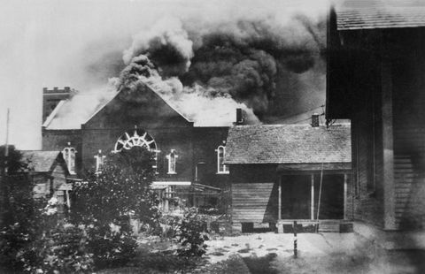 burning of church where ammunition was stored during race riot, tulsa, oklahoma, usa, american national red cross photograph collection, june 1921 photo by ghiuniversal history archiveuniversal images group via getty images