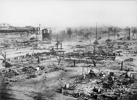 ruins of greenwood district after race riots, tulsa, oklahoma, usa, american national red cross photograph collection, june 1921 photo by ghiuniversal history archiveuniversal images group via getty images