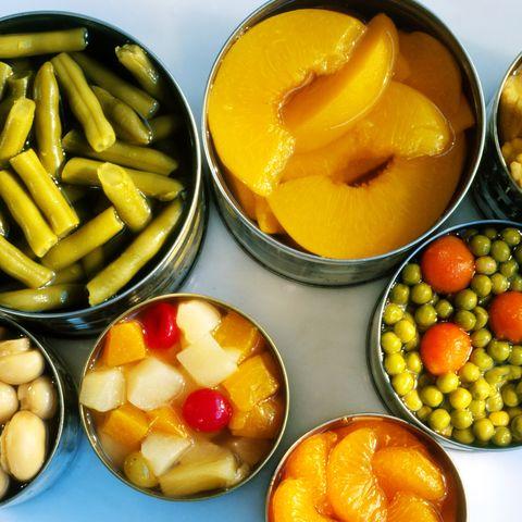 Assorted tinned fruit & vegetables