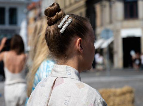 copenhagen, denmark   august 12 guest outside helmstedt wearing hair accesories during copenhagen fashion week ss21 on august 12, 2020 in copenhagen, denmark photo by raimonda kulikauskienegetty images
