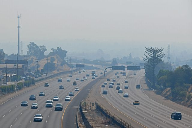 walnut creek, ca   august 22 traffic on highway 24 moves smoothly as motorist travel through a thick cloud of smoke in walnut creek, calif, on saturday, aug 22, 2020 with over 500 wild fires burning in california the bay area is inundated with unhealthy smoke currently the air quality index for walnut creek is unhealthy at 196 from this view mount diablo would be easily seen in the distance photo by jose carlos fajardomedianews groupthe mercury news via getty images