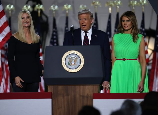 washington, dc   august 27  us president donald trump and first lady melania trump is introduced by his daughter and white house senior adviser, ivanka trump, as he prepares to deliver his acceptance speech for the republican presidential nomination on the south lawn of the white house august 27, 2020 in washington, dc trump gave the speech in front of 1500 invited guests  photo by chip somodevillagetty images