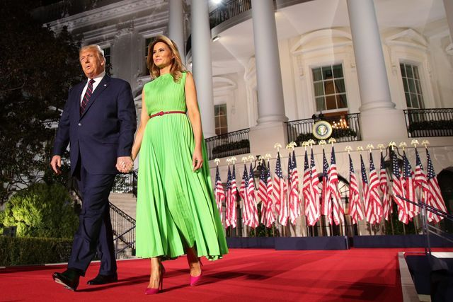 washington, dc   august 27  us president donald trump arrives on stage with first lady melania trump to deliver his acceptance speech for the republican presidential nomination on the south lawn of the white house on august 27, 2020 in washington, dc trump gave the speech in front of 1500 invited guests photo by alex wonggetty images