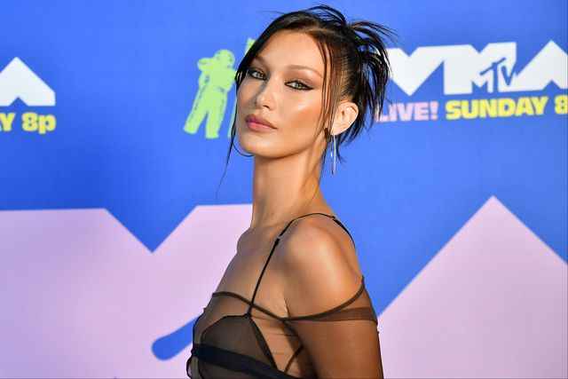 new york, new york   august 30 bella hadid attends the 2020 mtv video music awards, broadcast on sunday, august 30, 2020 in new york city photo by jeff kravitzmtv vmas 2020getty images for mtv