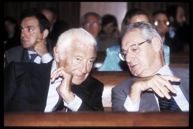 italian entrepreneurs gianni agnelli and cesere romiti at confindustria annual meeting rome italy, 1990 photo by massimo di vitaarchivio massimo di vitamondadori portfolio via getty images