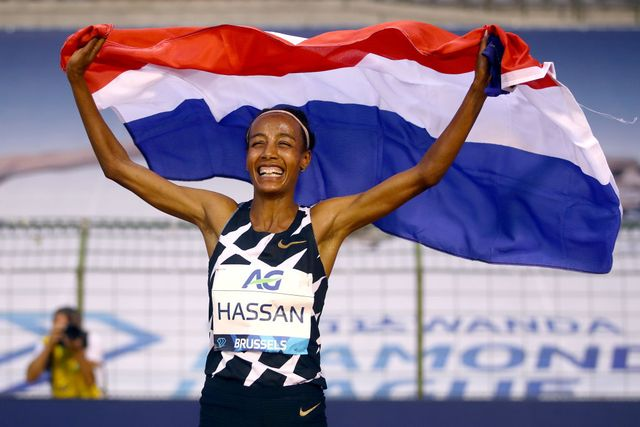 brussels, belgium   september 04 sifan hassan of netherlands celebrates winning the one hour woman competition with a world record during the memorial van damme brussels 2020 diamond league meeting at king baudouin stadium on september 04, 2020 in brussels, belgium photo by dean mouhtaropoulosgetty images