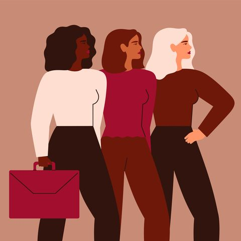 confident businesswomen stand together strong females entrepreneurs support each other vector concept of equitable participation of women in politics and business