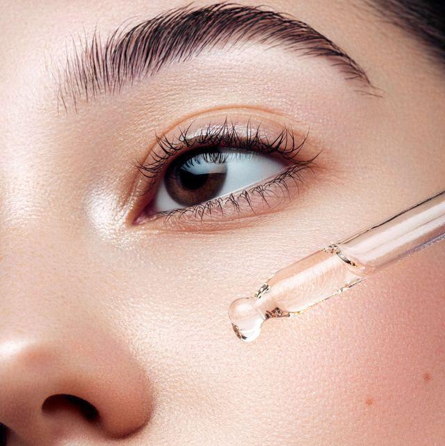 close up portrait of beautiful girl getting skin anti aging treatment