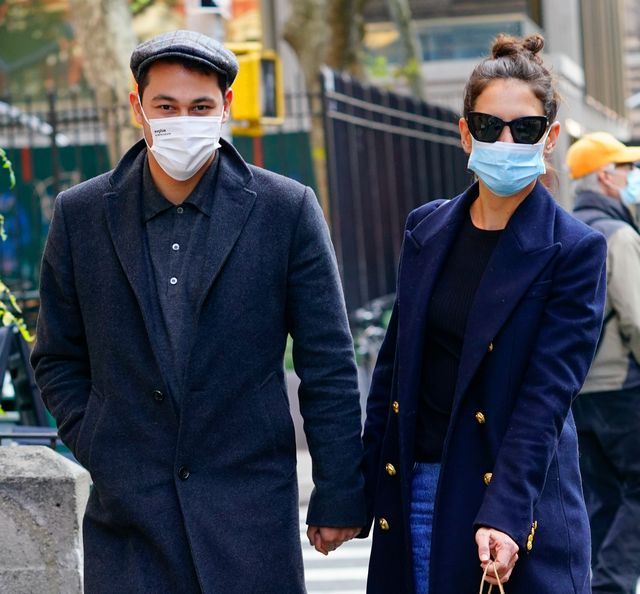 new york, new york   september 22 katie holmes r and emilio vitolo jr are seen on september 22, 2020 in new york city photo by gothamgc images