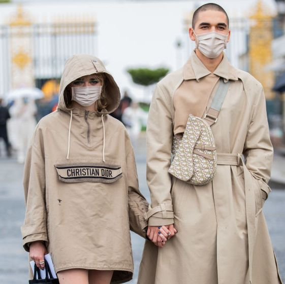 paris, france   september 29 couple maisie williams and reuben selby seen outside dior during paris fashion week   womenswear spring summer 2021  day two on september 29, 2020 in paris, france photo by christian vieriggetty images