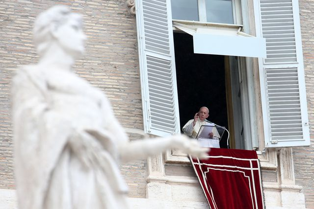 vatican city, vatican   october 04 pope francis delivers his sunday angelus blessing from the window of his studio overlooking st peters square on october 04, 2020 in vatican city, vatican on the conclusion of the recitation of the angelus on sunday before a sizable crowd gathered in st peters square, pope francis introduced his new encyclical fratelli tutti all brothers, and said he had the joy of giving the new encyclical to them photo by franco origliagetty images