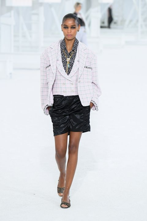 paris, france   october 06 a model walks the runway during the chanel womenswear springsummer 2021 show as part of paris fashion week on october 06, 2020 in paris, france photo by stephane cardinale   corbiscorbis via getty images