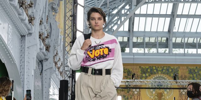 paris, france   october 06 emily miller walks the runway during the louis vuitton womenswear springsummer 2021 show as part of paris fashion week on october 06, 2020 in paris, france photo by peter whitegetty images