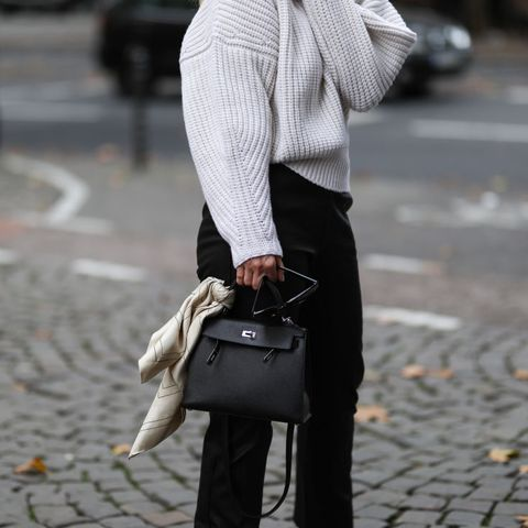 cologne, germany   october 07 judith mosqueira do amaral wearing beige turtleneck sweater, hermes black leather bag and black pants on october 07, 2020 in cologne, germany photo by jeremy moellergetty images