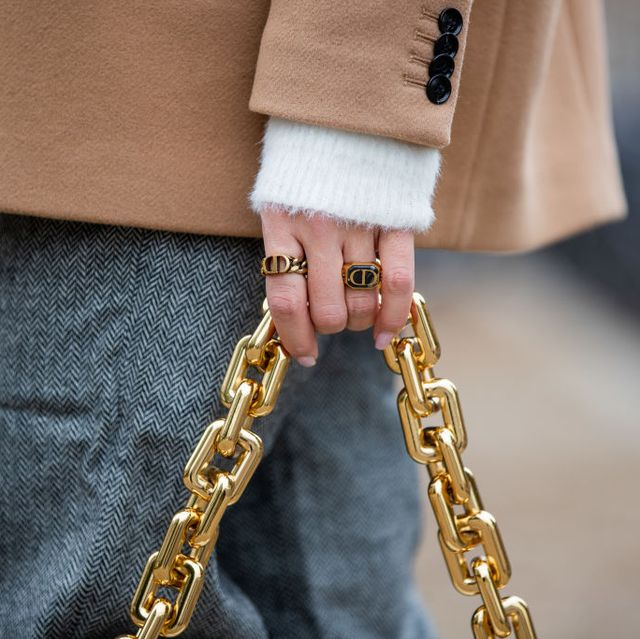 berlin, germany   october 13 sonia lyson is seen wearing dior rings, grey pants edited, white bottega veneta bag, white jumper and beige blazer other stories on october 13, 2020 in berlin, germany photo by christian vieriggetty images