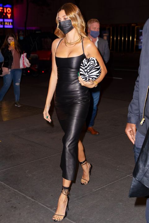 new york, new york   october 17 hailey bieber heads to snl studios on october 17, 2020 in new york city photo by gothamgc images