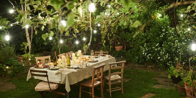 dining table outside in a garden al fresco dining