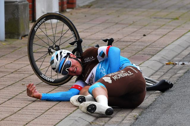 de panne, belgium   october 21 silvan dillier of switzerland and team ag2r la mondiale  crash  injury  during the 44th driedaagse brugge   de panne 2020, men classic a 202,6km race from brugge to de panne  ag3daagse  on october 21, 2020 in de panne, belgium photo by luc claessengetty images