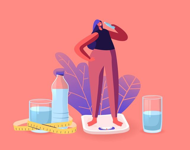 athletic beautiful sportswoman character on diet stand on scales drinking water from bottle refreshing after fitness sports activity healthy lifestyle, dieting concept cartoon vector illustration