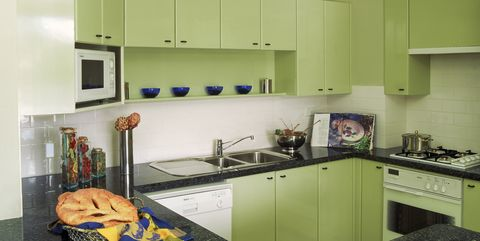 Retro Kitchens. Getty Images. Linoleum Cabinets
