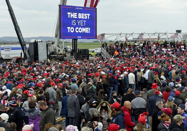 bern twp, pa   october 31 supporters of president donald j trump  listen to trump speak during the rally at the reading regional airport in bern township, pa saturday afternoon october 31, 2020 where united states president donald j trump spoke during a campaign rally for his bid for reelection photo by ben hastymedianews groupreading eagle via getty images